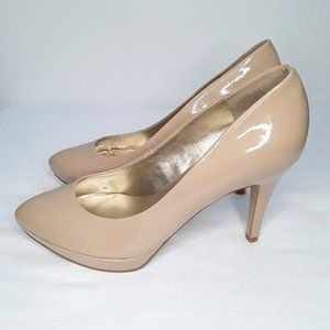 4/20$ Guess nude almond toe patent leather heels